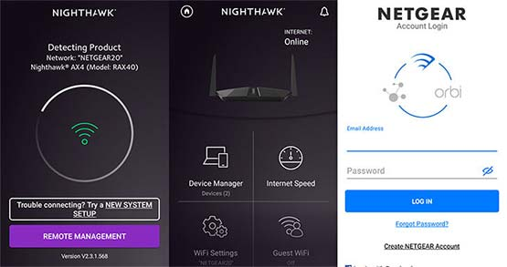 Setup via Netgear Nighthawk App